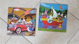 2 Puzzle colorati da 49 pezzi con Topolino Paperino